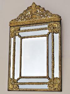 Deux Décorative Style Français Décoré Double PARCHEMIN Fronton Miroir//Moulage Blanc